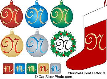 Christmas Font Letter N