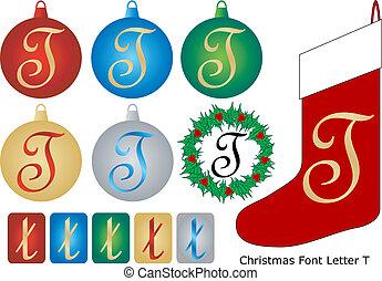 Christmas Font Letter T