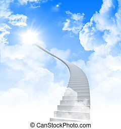 White ladder extending to a bright sky