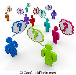 muitos, pessoas, pensando, perguntas