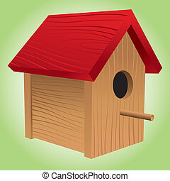 Birdhouse - A wooden, red-roofed birdhouse, perfect for...