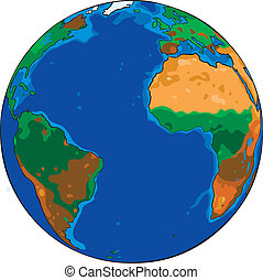 Cartoon globe - Cartoon Vector drawing of the planet earth