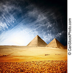 Pyramids - Greate pyramids in Giza valley with blue sky and...