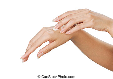 Skin care - Two woman hands with moisturizer body cream...