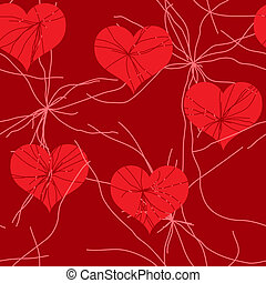 Abstract red grunge background with hearts - Valentine's day...
