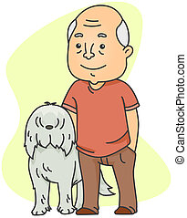 Old Man with His Dog - Illustration of an Old Man with His...