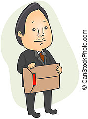 Red Tape - Illustration of a Man Holding an Envelope Sealed...