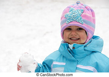 Laughing Child Keeping Snowball - Laughing Child Girl...