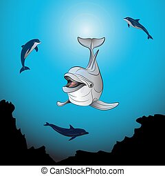 Dolphins playing the sea - Background of a coral reef with...