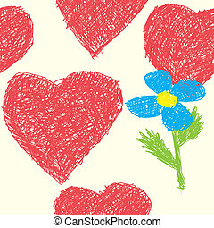 Background with hearts as picture of baby - Valentines day...
