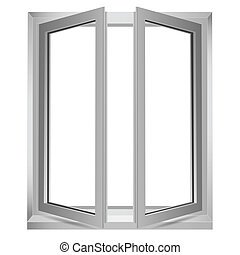 open window - illustration of open window on white...
