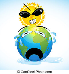 global warming - illustration of global warming on white...