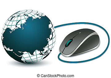 computer mouse with globe