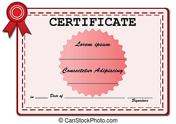 certificate - illustration of certificate on white...