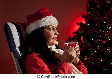 Woman in Christmas night