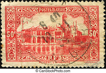 ALGERIA - CIRCA 1930: A stamp shows The flagship of the...
