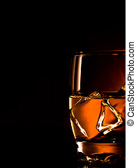 whiskey on the rocks, one glass