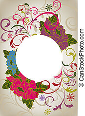 Abstract oriental floral card. Illustration vector.