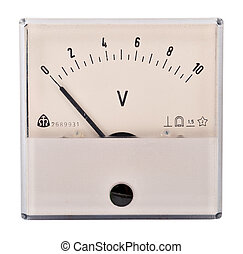The old voltmeter - The old measuring device on a white...