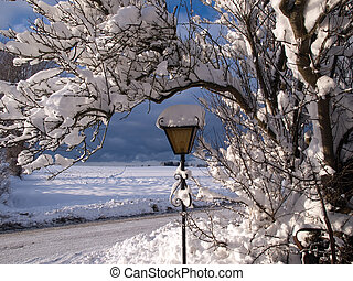 White Christmas background image garden lamp, trees and snow