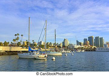 Sail boat at a dock - Sail boats at San Diego port during...