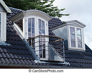 Modern classical design vertical roof windows with a balcony...