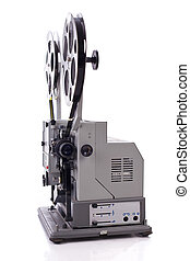 retro film projector isolated on wh