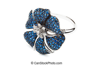 ring with sapphires on a white background