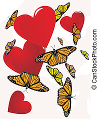 Butterflies floating around hearts Their affection is...