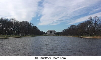 Lincoln Memorial - Lincoln Memorial with Lake in Washington,...