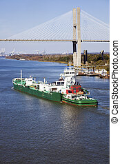 Savannah, navio, porto, Entrar