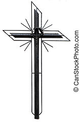 Stylized christian cross - old metal Christian cross...
