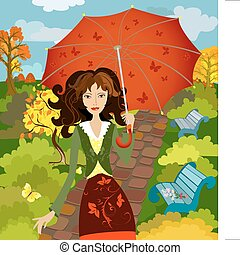 girl fall under the umbrella