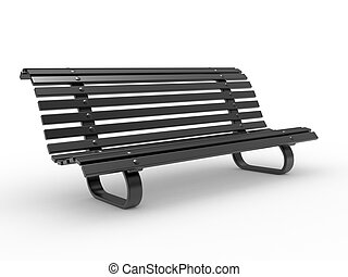 black Bench on White Background Realistic 3D image
