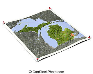 Michigan on unfolded map sheet - Michigan on unfolded map...
