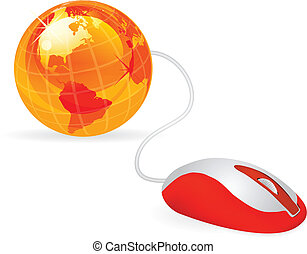 modern computer mouse - modern orange computer mouse...