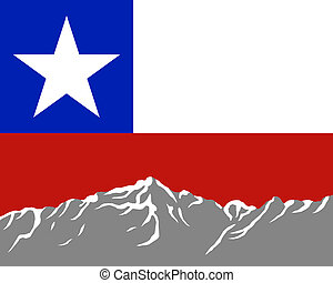 Mountains with flag of Chile