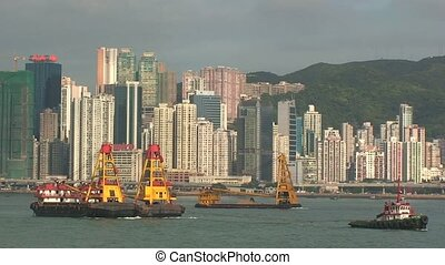 Boats in Hong Kong Harbor %u2013 Time Lapse