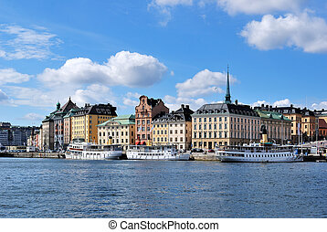 Stockholm, Old Town - Stockholm, Sweden Old Town in a sunny...