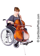 girl on wheelchair - invalid girl with cello on wheelchair...