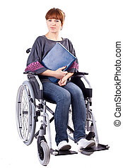 girl on wheelchair - invalid girl with book on wheelchair...