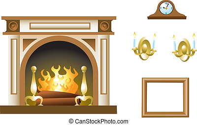 Fireplace Mantel - A fireplace mantel with related props