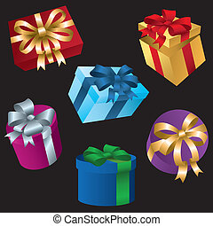 Gift Boxes - A selection of bright wrapped gift boxes for...