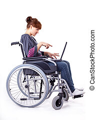 girl on wheelchair - invalid girl on wheelchair isolated on...