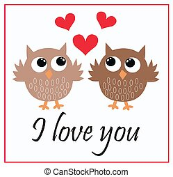 I love you card with two cute owls
