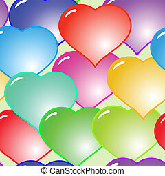Background with glass multicolor hearts - Valentine's day...
