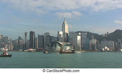 Boats in Hong Kong Harbor %u2013 Zoom Out
