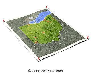 Ohio on unfolded map sheet. - Ohio on unfolded map sheet...