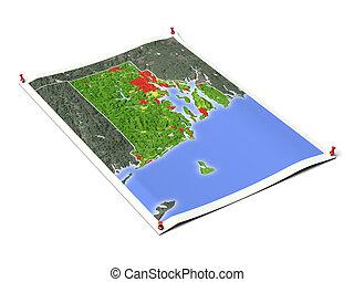 Rhode, isla, desplegado, mapa, hoja