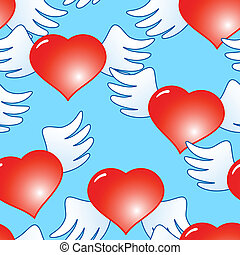 Background of red hearts with wings - Valentines day blue...